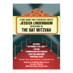 Theatre Marquee Bar Bat Mitzvah 13 Cm X 18 Cm Invitation Card