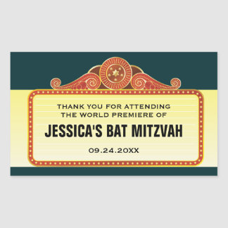 Theatre Marquee Bar Bat Mitzvah Rectangular Sticker