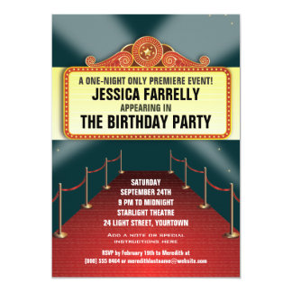 Theatre Marquee Party 5x7 Paper Invitation Card