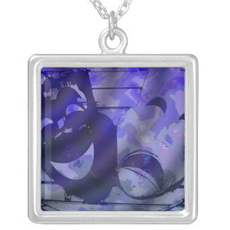 Theatre Masks blue Silver Plated Necklace