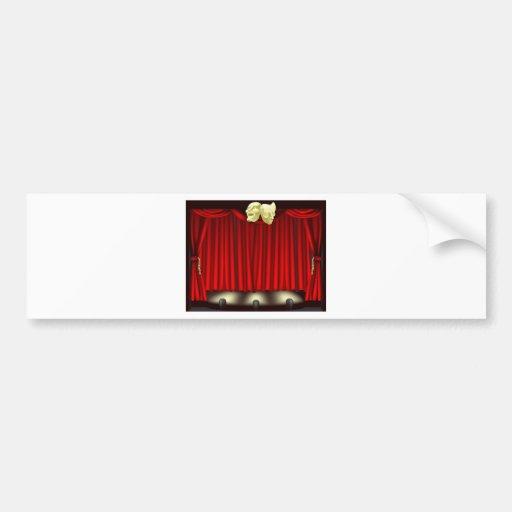 Theatre stage with masks bumper sticker