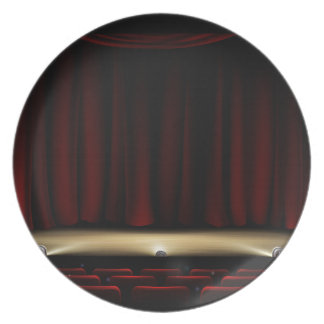 Theatre Stage with Theater Curtains Plate