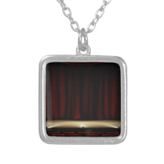 Theatre Stage with Theater Curtains Silver Plated Necklace