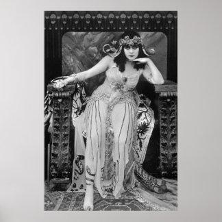 Theda Bara Cleopatra B&W Movie Still on Canvas Poster