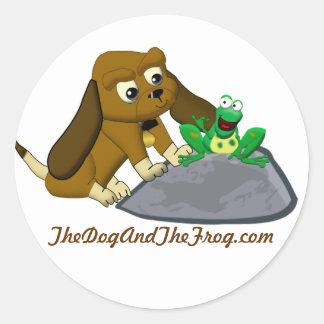 TheDogAndTheFrog.com Cartoon Beagle Frog Story Round Sticker
