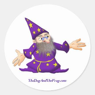TheDogAndTheFrog.com Cartoon Story Gifts Wizard Round Sticker