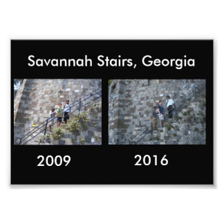 Then and Now - Savannah Stairs, GA Photo Print