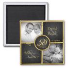 Then & Now 2016 Elegant Black & Gold 50th Wedding Magnet