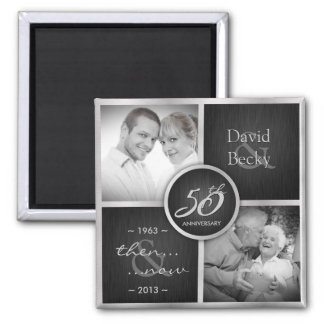 Then & Now Black & Silver 50th Wedding anniversary Square Magnet