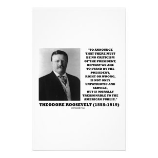 Theodore Roosevelt Morally Treasonable Quote Personalized Stationery