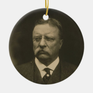 Theodore Roosevelt Portrait by the Pach Brothers Round Ceramic Decoration