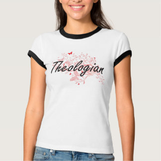 Theologian Artistic Job Design with Butterflies T-Shirt