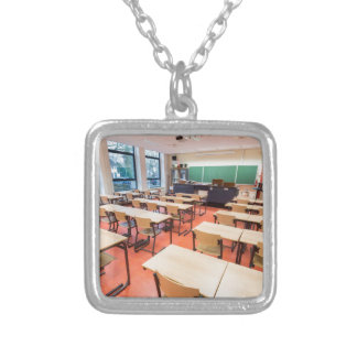 Theory classroom in high school silver plated necklace