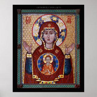 "Theotokos ""of the Sign"" mosaic Icon Poster"