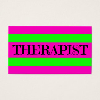 Therapist Neon Green and Hot Pink Business Card