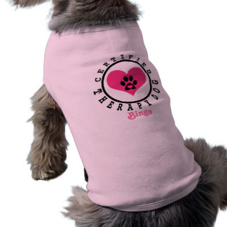 Therapy Dog Pink Heart Paw and Name Shirt