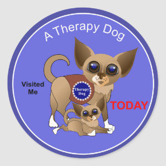 Therapy Dog Visit Round Sticker