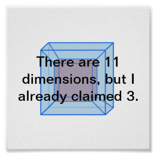 There are 11 dimensions, but I already claimed 3. Poster