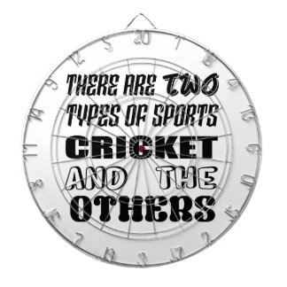 There are two types of sports cricket and others dartboard
