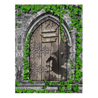 There be Dragons King Arthur Mediaeval Dragon Door Postcard