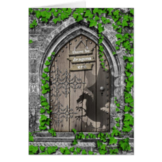 There be Dragons King Arthur Medieval Dragon Door Card