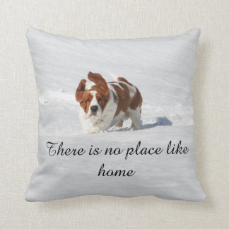 """""""There is no place like home"""" pillow w/Basset"""