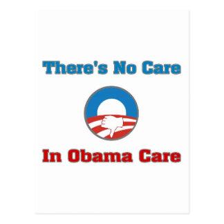 There's No Care In Obama Care Postcard
