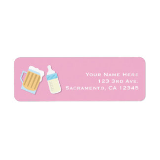 There's A Baby Brewing Beer Mugs Pink Shower Return Address Label