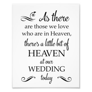 There's A Little Bit Of Heaven Wedding Memorial Photo Print