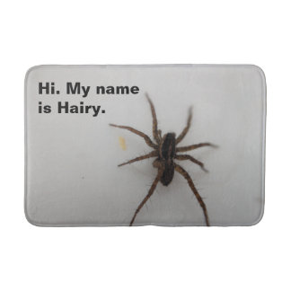 There's a spider in the bathroom bath mat
