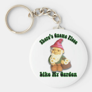 There's Gnome Place Like My Garden Keychain Basic Round Button Keychain