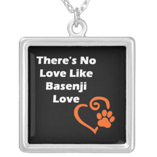 There's No Love Like Basenji Love Silver Plated Necklace