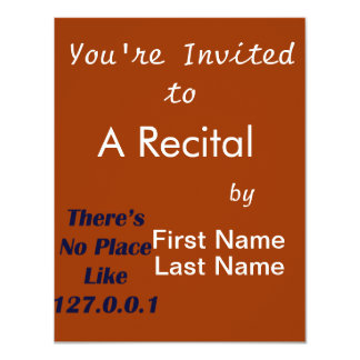 """Theres No Place like 127001 4.25"""" X 5.5"""" Invitation Card"""
