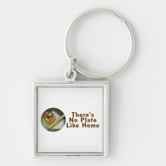Theres No Plate Like Home (Baseball) Silver-Colored Square Key Ring