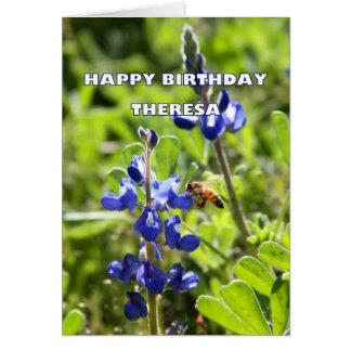 Theresa Texas Bluebonnet Happy Birthday Greeting Card