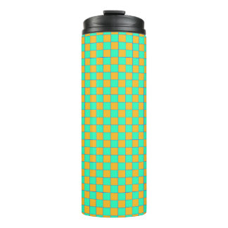 Thermal cup Karo in orange and turquoise/mint