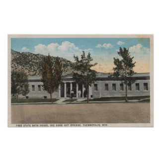 Thermopolis WY - View of Big Horn Bath House Print