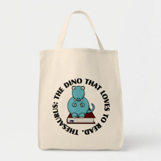 Thesaurus: A Dinosaur Who Loves to Read Books Grocery Tote Bag