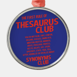 Thesaurus Club Silver-Colored Round Decoration