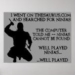 Thesaurus Ninjas Funny Ninja Poster Sign