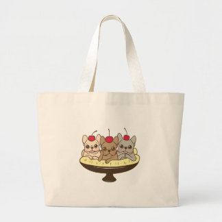 These Frenchies want to be your sweet banana split Large Tote Bag