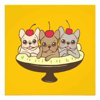 These Frenchies want to be your sweet banana split Photo Print