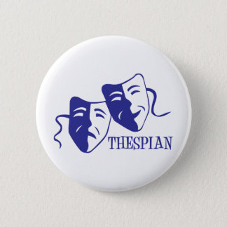 thespian blue 6 cm round badge