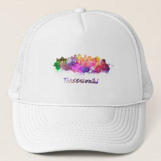 Thessaloniki skyline in watercolor trucker hat