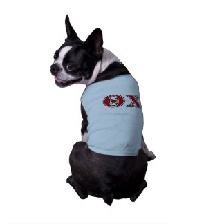 Theta Chi Red and Black Letters Sleeveless Dog Shirt