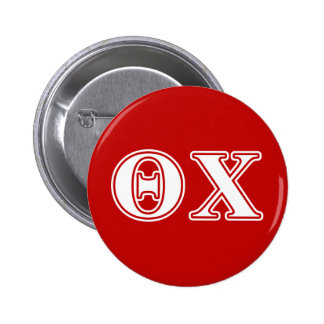 Theta Chi White and Red Letters 6 Cm Round Badge