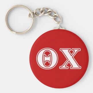 theta chi white and red letters basic round button key ring