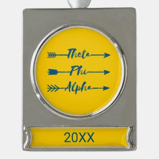 Theta Phi Alpha Arrow Silver Plated Banner Ornament