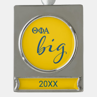 Theta Phi Alpha Big Script Silver Plated Banner Ornament
