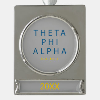 Theta Phi Alpha Modern Type Silver Plated Banner Ornament
